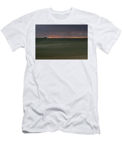 Wide View Of Lighthouse And Sunset Men's T-Shirt (Athletic Fit)