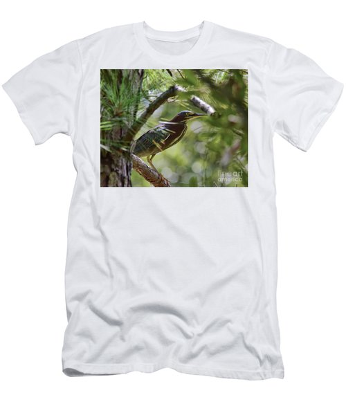 Men's T-Shirt (Athletic Fit) featuring the photograph Wild Birds - Green Heron Tries To Hide by Kerri Farley