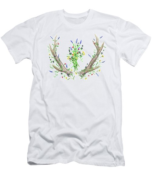 Men's T-Shirt (Athletic Fit) featuring the painting Wild Flowers And Antlers Watercolor by Irina Sztukowski