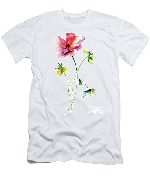 Wild Flowers Watercolor Illustration Men's T-Shirt (Athletic Fit)