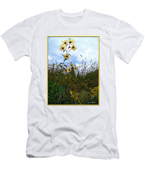 Men's T-Shirt (Slim Fit) featuring the photograph Wildflowers And Mentor Marsh by Joan  Minchak