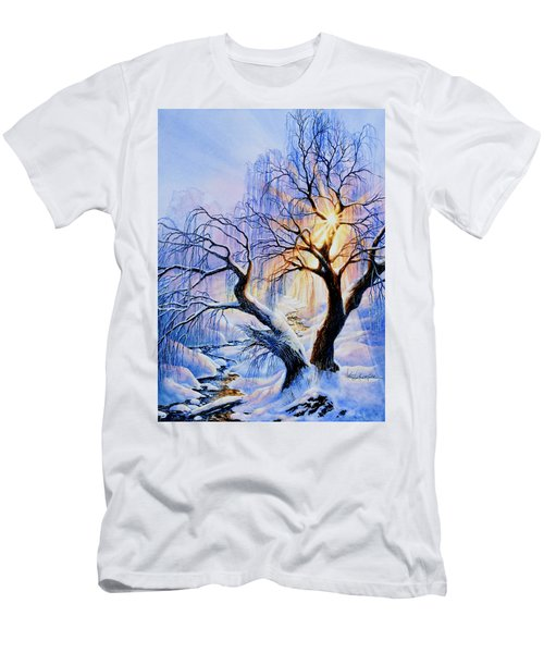 Men's T-Shirt (Athletic Fit) featuring the painting Willow Creek Sunset by Hanne Lore Koehler