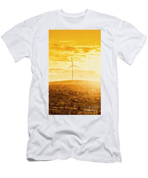 Windfarm Sunset Men's T-Shirt (Athletic Fit)