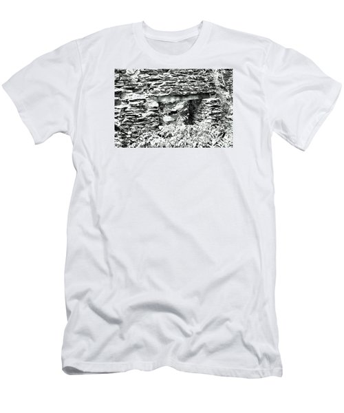 Window View Of Sope Creek In Black And White Men's T-Shirt (Slim Fit) by James Potts