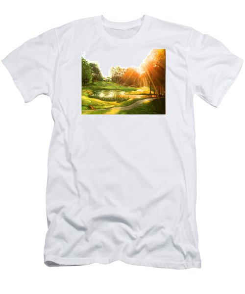 Windstone 13th Green Men's T-Shirt (Slim Fit) by Janet McGrath