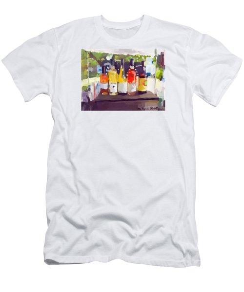 Wine Tasting Tent At Rockport Farmers Market Men's T-Shirt (Slim Fit) by Melissa Abbott