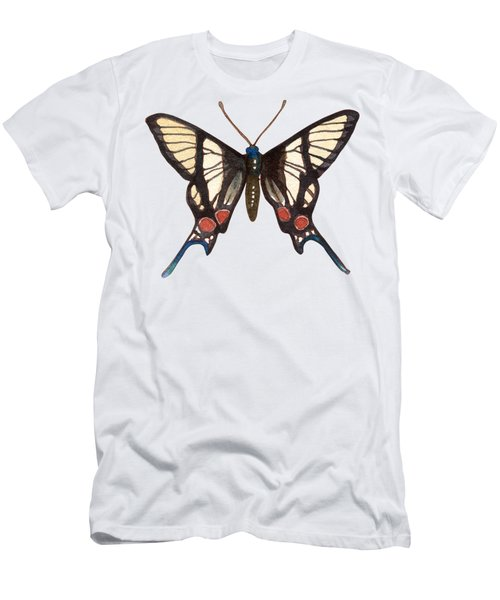 Men's T-Shirt (Athletic Fit) featuring the painting Winged Jewels 4, Watercolor Tropical Butterflie Black White Red Spots by Audrey Jeanne Roberts