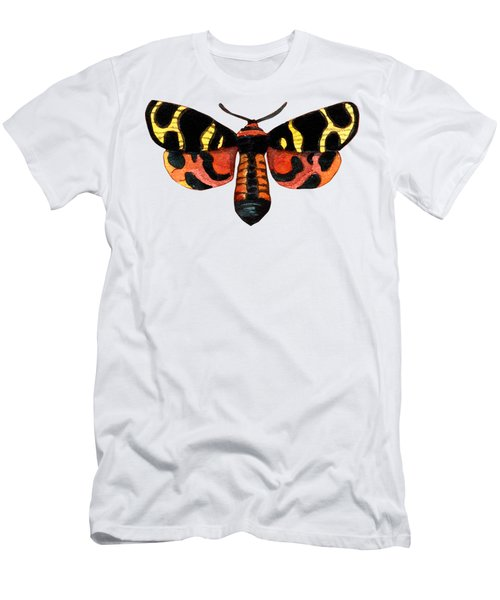 Men's T-Shirt (Athletic Fit) featuring the painting Winged Jewels 5, Watercolor Moth Black Yellow Orange And Red Tropical by Audrey Jeanne Roberts