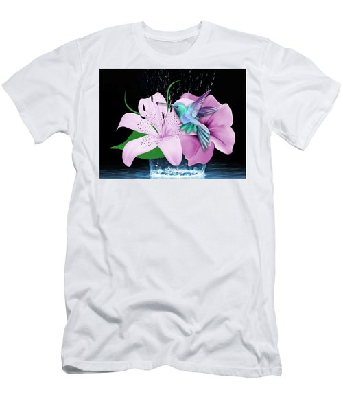 Men's T-Shirt (Athletic Fit) featuring the mixed media Winging It Hummingbird by Marvin Blaine