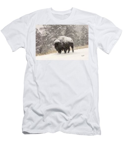 Men's T-Shirt (Slim Fit) featuring the digital art Winter Bison by Walter Chamberlain
