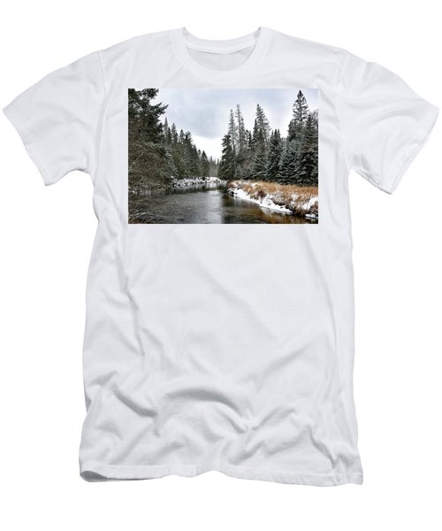 Men's T-Shirt (Slim Fit) featuring the photograph Winter Creek In Adirondack Park - Upstate New York by Brendan Reals
