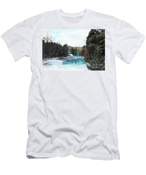Men's T-Shirt (Slim Fit) featuring the mixed media Winter In Kalkaska by Desiree Paquette