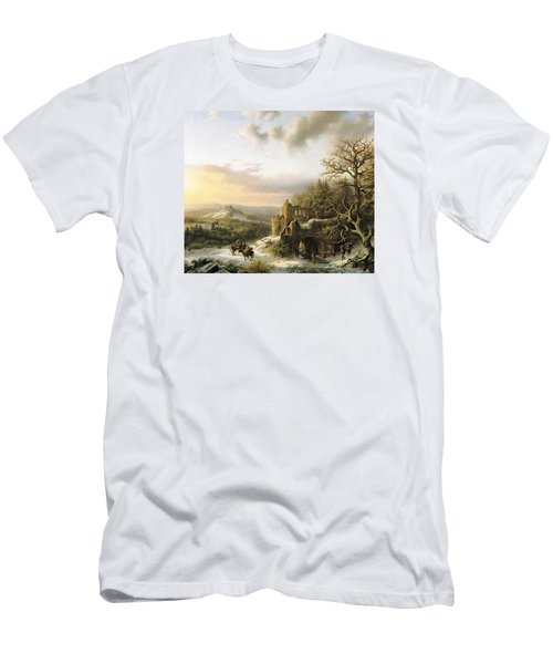 Winter Landscape With Peasants Gathering Wood Men's T-Shirt (Slim Fit) by Reynold Jay