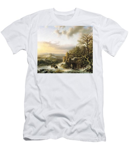 Winter Landscape With Peasants Gathering Wood Men's T-Shirt (Athletic Fit)
