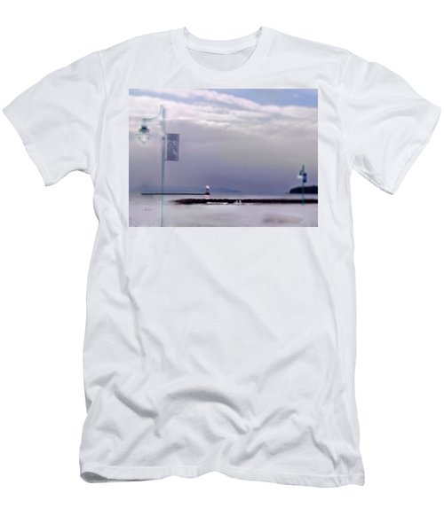Winter Lights To Rock Point Digital Painting Of Evening Sentries At The Coast Guard Station Men's T-Shirt (Athletic Fit)