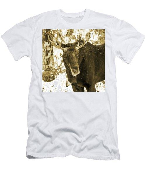 Winter Moose - Sepia Men's T-Shirt (Athletic Fit)