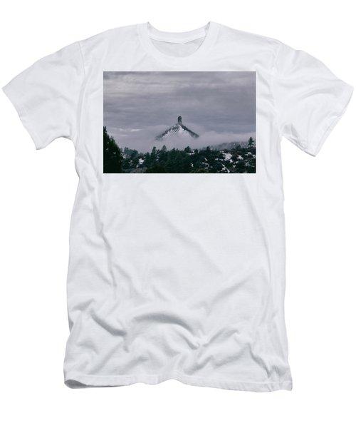 Winter Morning Fog Envelops Chimney Rock Men's T-Shirt (Athletic Fit)