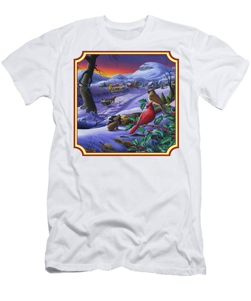 Winter Mountain Landscape - Cardinals On Holly Bush - Small Town - Sleigh Ride - Square Format Men's T-Shirt (Athletic Fit)