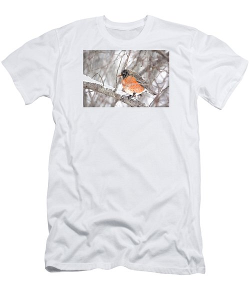 Men's T-Shirt (Slim Fit) featuring the photograph Winter Robin by Trina Ansel