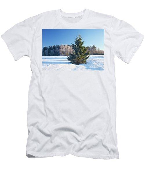 Wintry Fir Tree Men's T-Shirt (Slim Fit) by Teemu Tretjakov