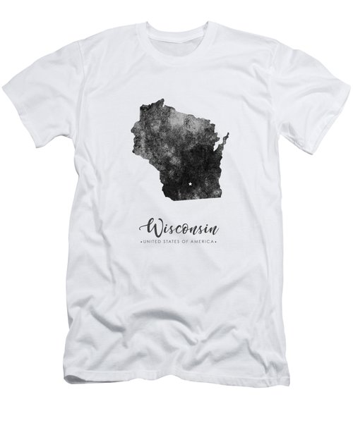 Wisconsin State Map Art - Grunge Silhouette Men's T-Shirt (Athletic Fit)