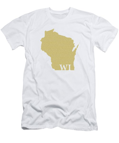 Wisconsin State Map With Text Of Constitution Men's T-Shirt (Athletic Fit)
