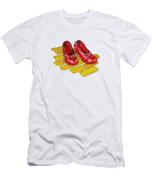 Wizard Of Oz Ruby Slippers Men's T-Shirt (Slim Fit) by Irina Sztukowski