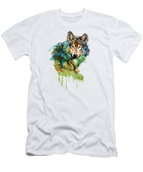 Wolf Face Watercolor Men's T-Shirt (Athletic Fit)