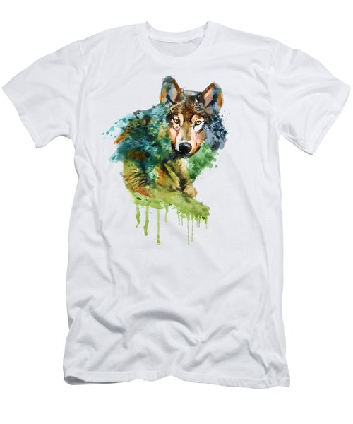 Wolf Face Watercolor Men's T-Shirt (Slim Fit)