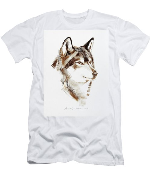 Wolf Head Brush Drawing Men's T-Shirt (Athletic Fit)
