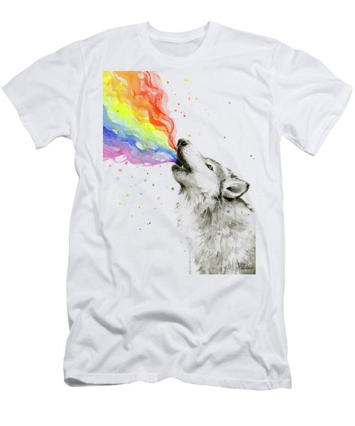 Wolf Rainbow Watercolor Men's T-Shirt (Slim Fit)