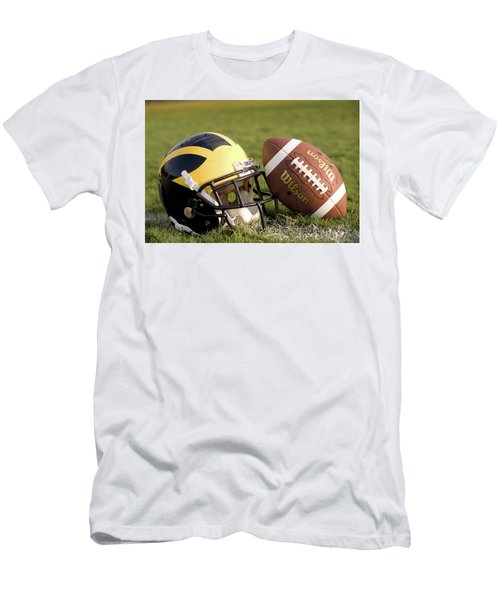 Wolverine Helmet With Football On The Field Men's T-Shirt (Athletic Fit)
