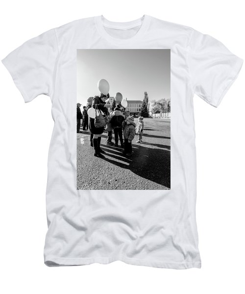 Men's T-Shirt (Athletic Fit) featuring the photograph Woman Balloon And Boy by John Williams