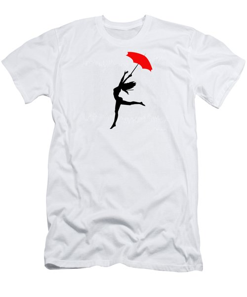 Woman Dancing In The Rain With Red Umbrella Men's T-Shirt (Athletic Fit)
