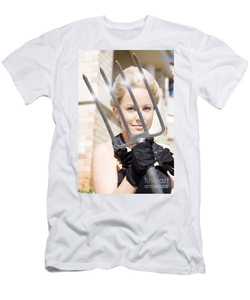 Woman Giving The Garden Forks Men's T-Shirt (Athletic Fit)