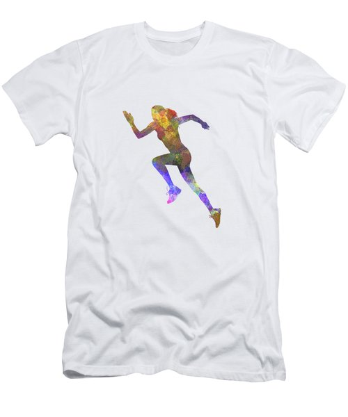 Woman Runner Running Jogger Jogging Silhouette 03 Men's T-Shirt (Athletic Fit)