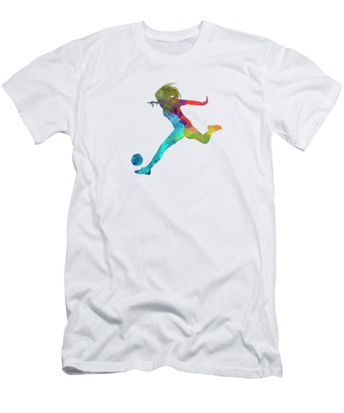 Woman Soccer Player 01 In Watercolor Men's T-Shirt (Slim Fit) by Pablo Romero