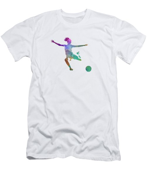 Woman Soccer Player 03 In Watercolor Men's T-Shirt (Slim Fit) by Pablo Romero