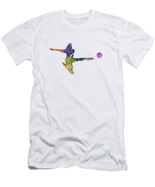 Woman Soccer Player 04 In Watercolor Men's T-Shirt (Slim Fit) by Pablo Romero