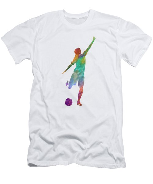 Woman Soccer Player 09 In Watercolor Men's T-Shirt (Athletic Fit)