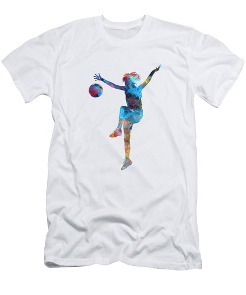 Woman Soccer Player 12 In Watercolor Men's T-Shirt (Athletic Fit)