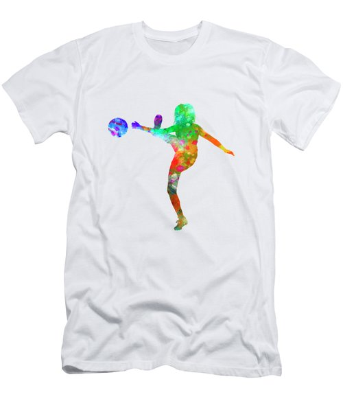 Woman Soccer Player 17 In Watercolor Men's T-Shirt (Slim Fit) by Pablo Romero