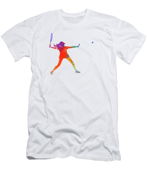 Woman Tennis Player 01 In Watercolor Men's T-Shirt (Slim Fit) by Pablo Romero