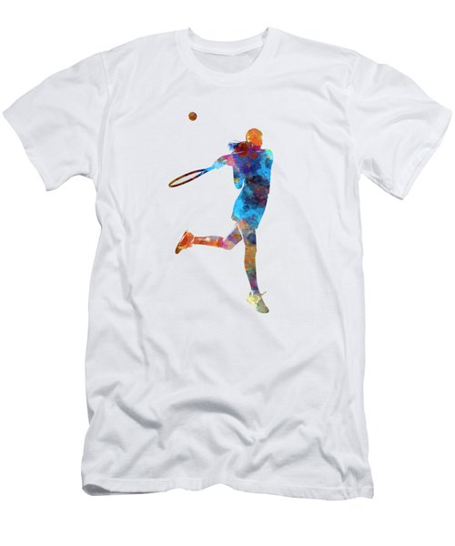 Woman Tennis Player 03 In Watercolor Men's T-Shirt (Slim Fit) by Pablo Romero
