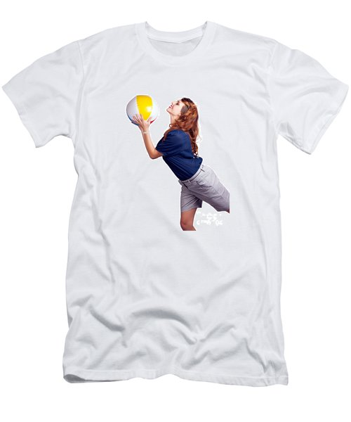 Woman Throwing Beach Ball On White Background Men's T-Shirt (Athletic Fit)