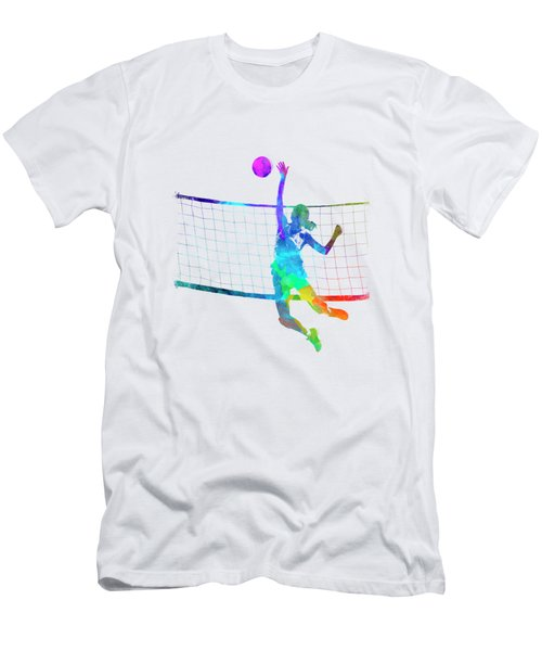Woman Volleyball Player In Watercolor Men's T-Shirt (Athletic Fit)