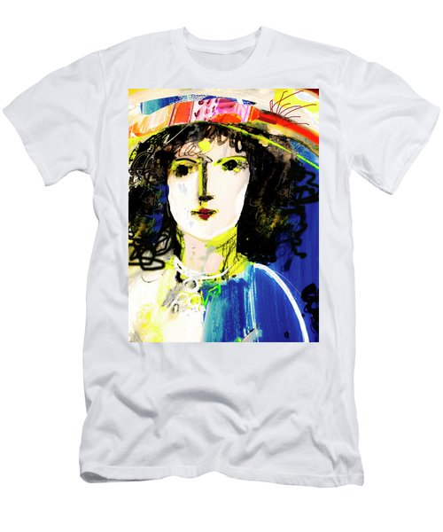 Woman With Party Hat Men's T-Shirt (Slim Fit) by Amara Dacer