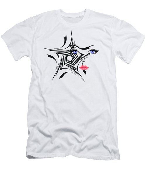 Woman With Star Design Men's T-Shirt (Athletic Fit)