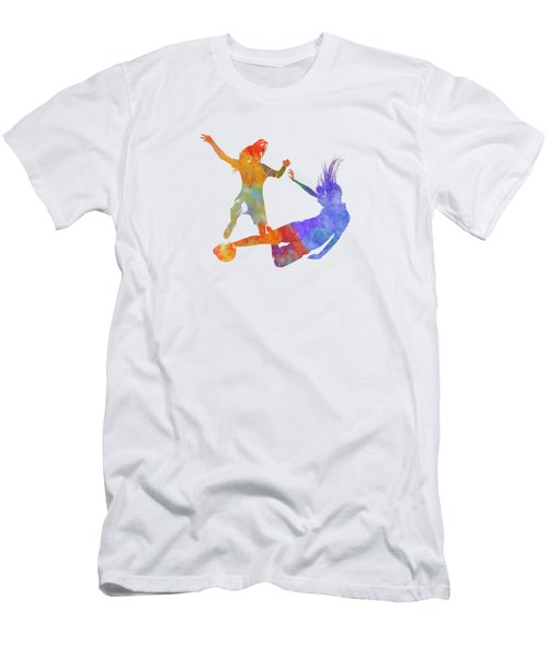 Women Soccer Players 02 In Watercolor Men's T-Shirt (Athletic Fit)