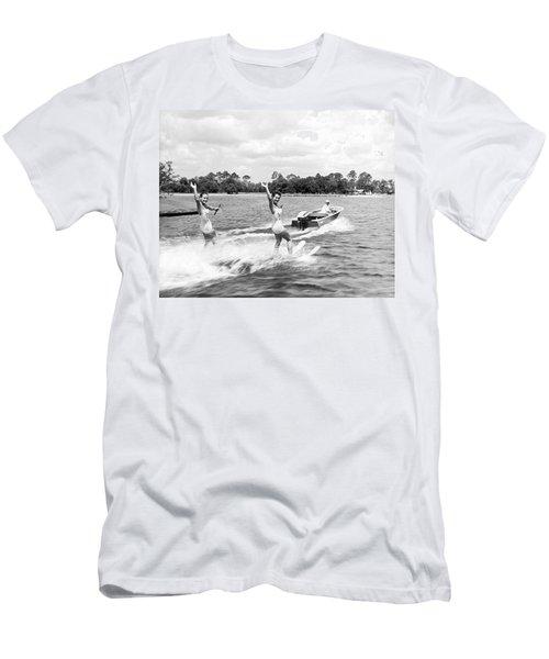 Women Water Skiers Waving Men's T-Shirt (Athletic Fit)